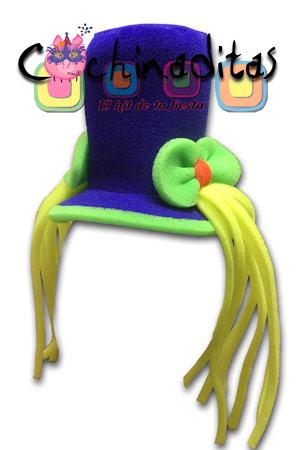 Sombrero coletitas hule espuma