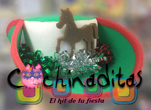 Sombrero texano tricolor hule espuma