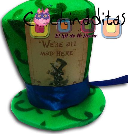 Sombrerero loco carta hule espuma verde