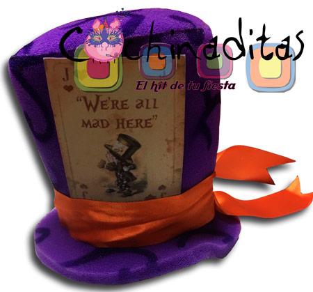 Sombrerero loco carta hule espuma morado