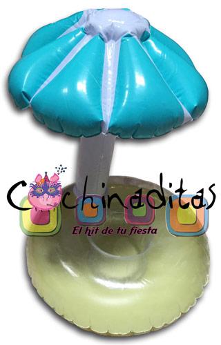 Porta bebidas sombrilla inflable
