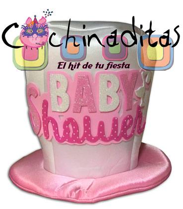 Sombrero tela Baby shower rosa