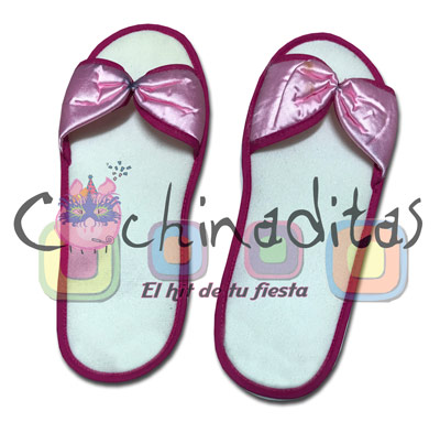 Pantufla moñito a color