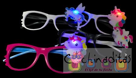 Lentes unicornio con luz