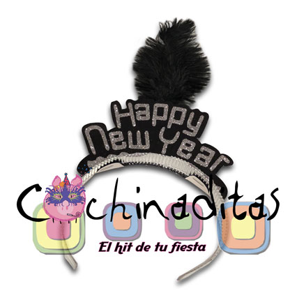 Diadema Happy New Year pluma