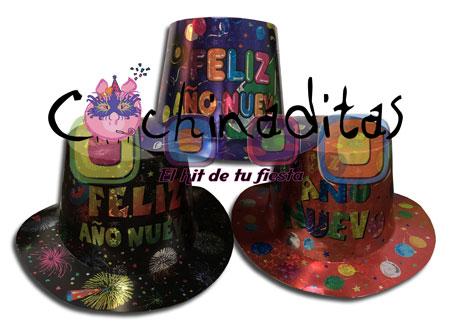 Sombrero copa Feliz Año Nuevo colores