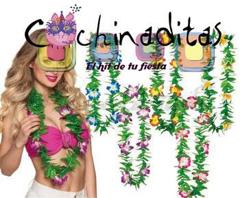 Collar hawaiano verde con flor