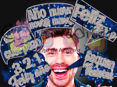 Letreros fotos Año nuevo Azul