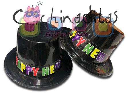 Sombrero copa Happy New Year plástico