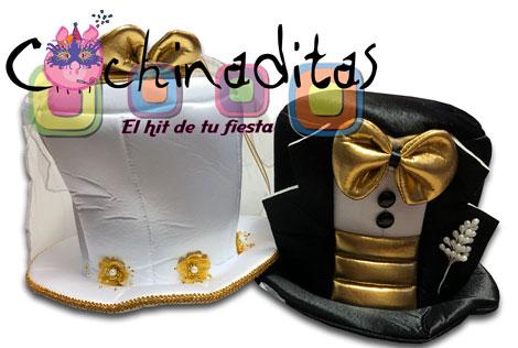 Sombreros novios dorado